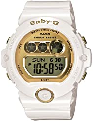 Casio Womens BG6901-7 Baby-G White Resin and Gold-Tone Accented Large Digital Sport Watch