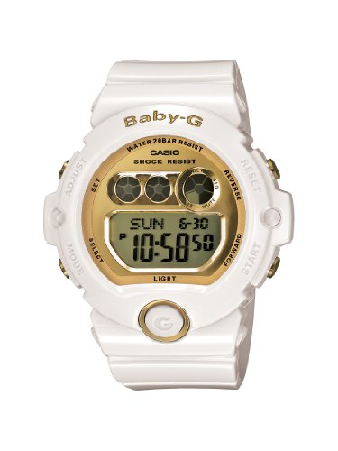 Casio Women's BG6901-7 Baby-G White Resin and Gold-Tone Accented Large Digital Sport Watch - White G Shock Watches For Women