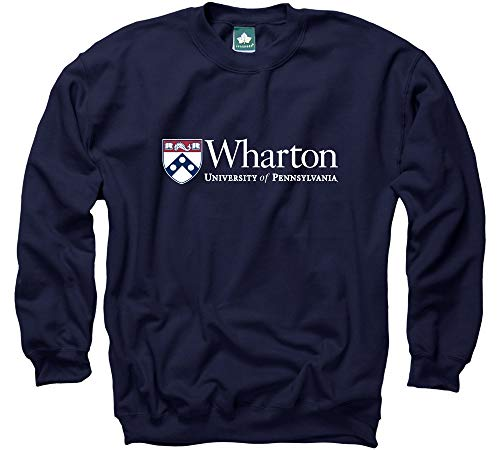 - Ivysport University of Pennsylvania Sweatshirt Wharton Logo, 80% Cotton / 20% Polyester, Navy, Crewneck Sweatshirt, Small