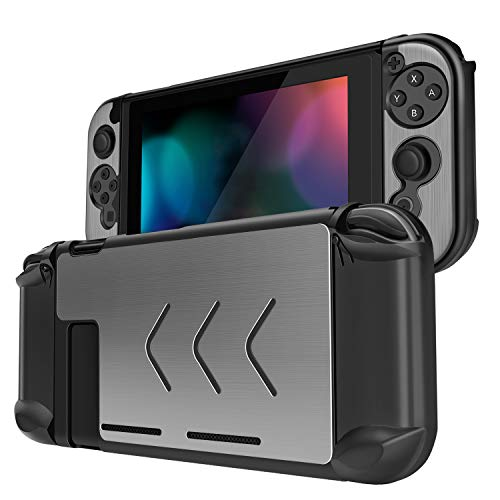 TNP Case Cover for Nintendo Switch Console & Joy-Con Controller - Travel Friendly Aluminum Alloy Hard Shell Protector, Anti-Scratch Shockproof Protective Nintendo Switch Accessories (Silver)