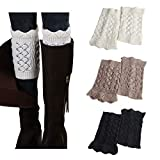 3Pairs Women's Short Leg Warmer Crochet Boot Cover