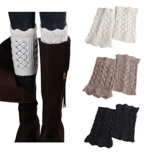 3Pairs Women's Short Leg Warmer Crochet Boot Cover by FAYBOX