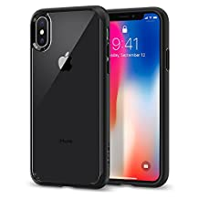 iPhone X Case, iPhone 10 Case, Spigen Ultra Hybrid - Air Cushion Technology and Hybrid Drop Protection for Apple iPhone X (2017) - Matte Black