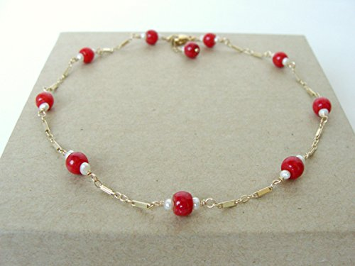 Gold coral anklet, genuine red coral seed pearls 14kt gold-fill, 9.75 inches, rich pop of red, summer resort style, handmade Let Loose Jewelry