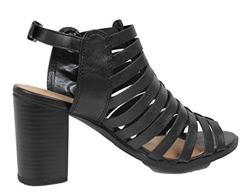 Staden Klassificerade Womens Öppen Tå Strappy Slingback Chunky Klack Sandal Svart
