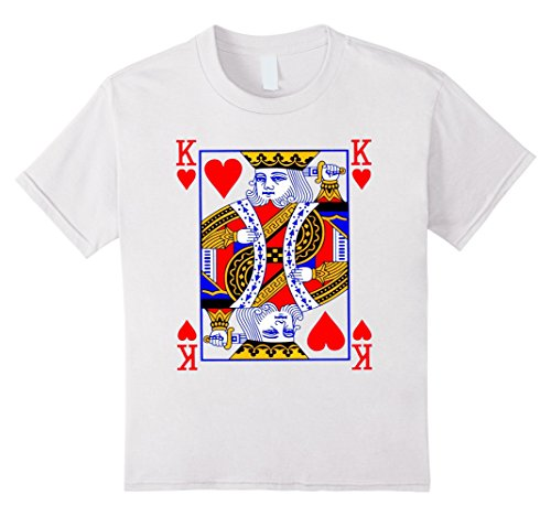 Kids King of Hearts Playing Card Poker Card Costume Tee Shirt 8 White (Full House Costumes)