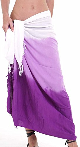 M&B USA Womens Sarong Pareo Tie Dye Cover Up Wrap Beach Swimsuit Bikini Summer (Purple, One Size)