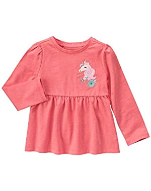 Baby Girls' Pink Unicorn Graphic Top