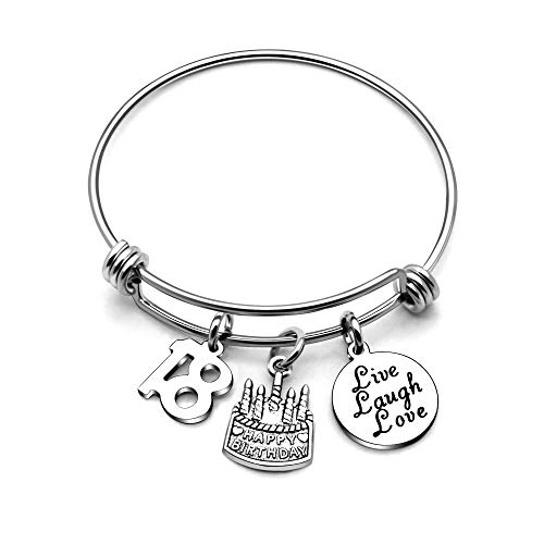 AGR8T Bangle Bracelets Gifts for Her Happy Birthday Bangles Cake Live Laugh Love Charms Women Girl (18th Birthday)]()