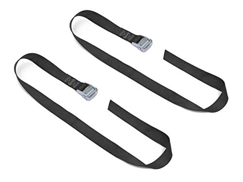 "Powertye 1½"" x 4ft Made in USA Heavy-Duty Lashing Strap with Heavy-Duty Buckle, Black, 2-Pack"