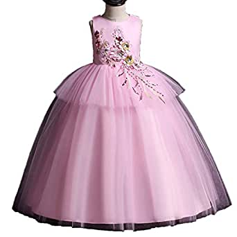 15b583b6729a1 Amazon.com: Miao Express Girls Evening Party Dress 2019 Summer Kids ...