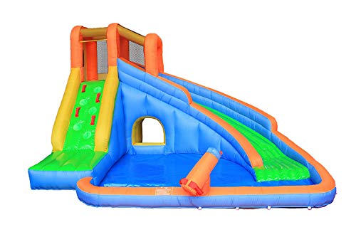 (RETRO JUMP Inflatable Slide Bouncer, Water Pool Slide Climber Castle Bounce House Waterslide for Kids Backyard with Blower)