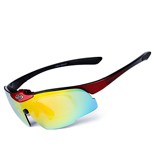 (B dressy sportinggoods POLARIZED Sports Sunglasses Glasses with 5 Set Interchangeable Lenses for Cycling,Reddish black )