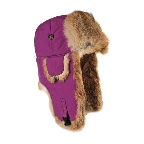 Mad Bomber Original Balaclavas Headwear, Wine with Brown Rabbit Fur, Large
