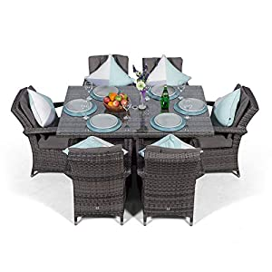 Arizona Rattan Dining Set | Rectangle 6 Seater Grey Rattan Dining Set | Outdoor Poly Rattan Garden Table & Chairs Set | Patio Conservatory Wicker Garden Dining Furniture with Parasol & Cover