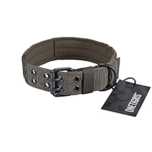 OneTigris Military Adjustable Dog Collar with Metal D Ring & Buckle 2 Sizes (Ranger Green, L)