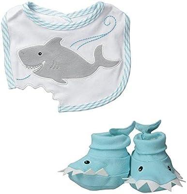 Baby Aspen, Chomp & Stomp Shark Bib and Booties Gift Set, Blue, 0-9 Months