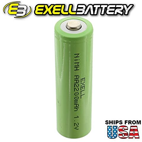 Exell 1.2V AA 2200mAh Rechargeable NIMH Button Top Battery for use with cameras, camcorders, mobile phones, pagers, medical instruments/equipment, high power static applications FAST USA - 2,200 Mah Nimh Battery