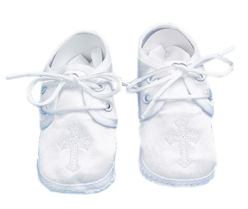 Lauren Madison baby boy Christening Baptism Special occasion Infant Satin Shoes With Embroidered Cross On The Toe, White, Large
