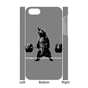 3D iPhone 4/4s Case,Bear Lifting Weights Quote Hard Shell Back Case for White iPhone 4/4s