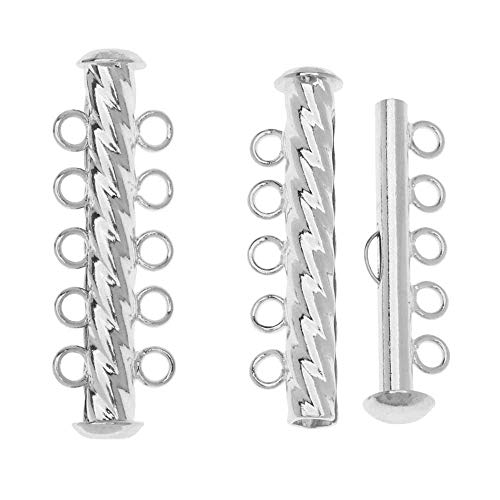 - Slide Tube Clasps, 5-Strand Fluted Twist 32 x 4.5mm, 3 Sets, Silver Plated