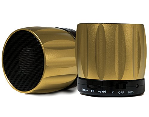 Fenix Ultra-Portable Wireless Bluetooth Speaker, Powerful Sound Built in Microphone, Hands-Free, Micro SD Card Reader, iPhone, iPad, iPod, Nexus, Samsung, Smart Phones, Mp3 Players - Gold