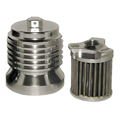 PC Racing PCS4C Stainless Steel Polished Aluminum Flo Oil Filter: Automotive