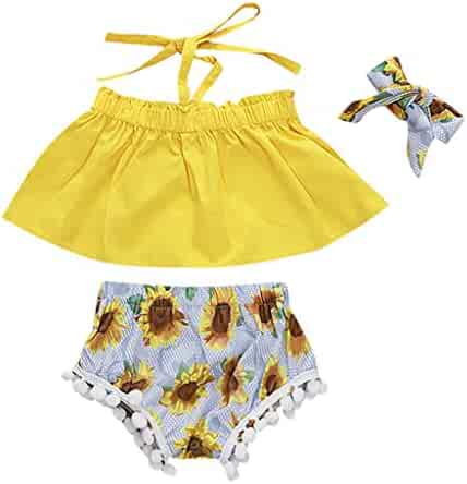 56b4b0f81 Newborn Infant Toddler Baby Girls Floral Summer Outfits Clothes Cuekondy  Sunflower Off Shoulder Tops+Shorts