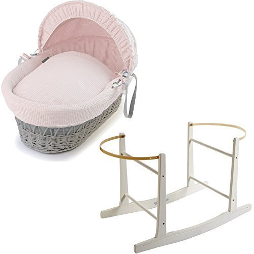Grey Wicker Pink Waffle Moses Basket with White Rocking Stand For-Your-Little-One