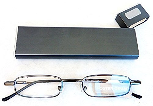 +2.0 Ultra Compact Foster Grant Reading Glasses Thins with Spring Hinges and Compact Metal Case +2.00 (1 pair in black case) (+2.0)