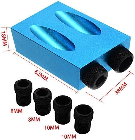 34 St/ück Schr/ägloch Positionierer Set,6//8//10 mm Bit 15 /° Schr/ägloch Positionierer f/ür Holzbearbeitung Winkel Bohren L/öcher Guide Doppel Pocket Loch Jig Kit