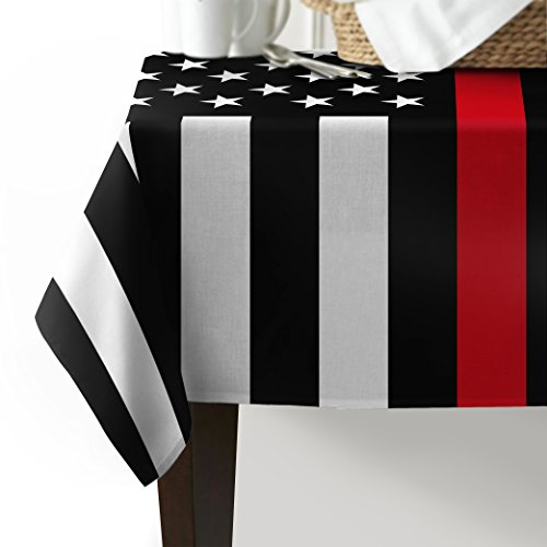 Z&L Home Independence Day 4th of July Reusable Table Cover Black White and Red American Flag Honoring Firefighters Cotton Linen Table Cloth for Outdoor or Indoor Parties BBQs Family Gatherings ()