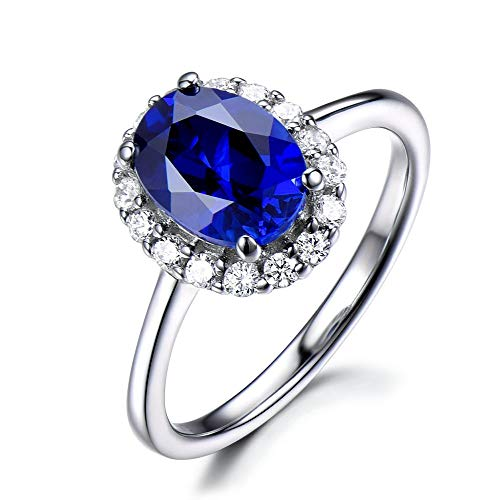 (Oval Cut Lab Created Blue Sapphire 14k White Gold CZ Diamond Halo Plain Band Engagement Ring Vintage)