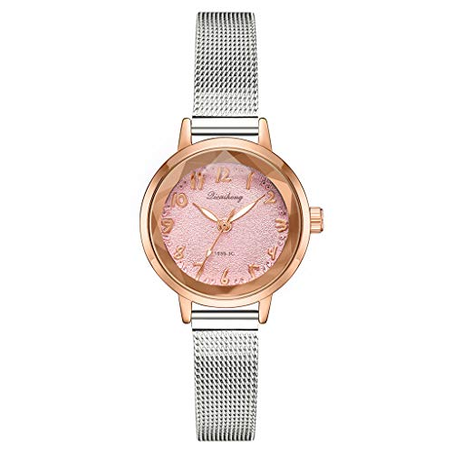 LUXISDE Watch Women Stylish and Simple Matte Disk Digital Silver Mesh with Quartz Female Watch D