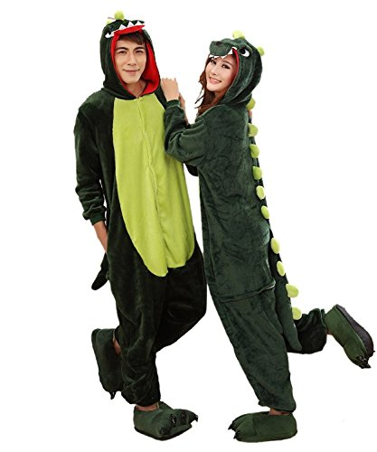 Aoibox Unisex Adult Pink and Dinosaur Animal Cosplay Onesie Pajamas Size (Adult Onesies Costumes)