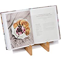 KitchenWarePlus Recipe Book Holder - Bamboo Cookbook Stand for iPad or Tablet for the Kitchen with Protective Splash Guard. Easy Clean Book Stand.
