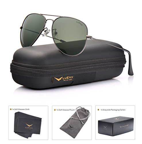 Gunmetal Frame Grey Polarized Lens (LUENX Men Women Aviator Sunglasses Grey Green Polarized Lens Gun Metal Frame Non-Mirror 60MM with Accessories Classic style)