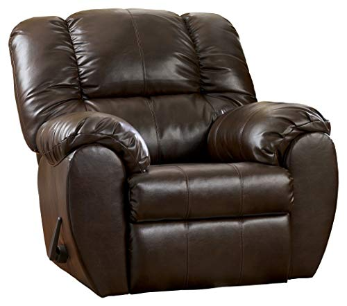 Chaise Rocker Recliner Leather - Ashley Furniture Signature Design - Dylan Rocker Recliner - Pull Tab Manual Reclining Sofa - Contemporary - Espresso Brown