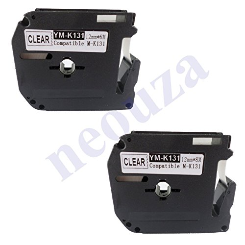 2PK compatible for Brother P-touch Label Tape M131 M-K131 MK131 Black on Matte Clear PT45M PT55BM PT55S PT65 PT85