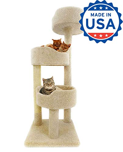 CozyCatFurniture 52 inches Cat Climbing Tower for Big Cats, Carpeted Cat Tree Bed with Solid Wood Posts, Sisal Scratching Pole, Cat Climber with 3 Large Beds, Beige Color