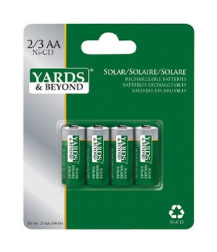 Yards & Beyond SOLAR RECHARG BATTERY4PK by LIVING ACCENTS MfrPartNo BTNC23AA150D4, Green/silver,  (Batteries Nicd Aa Mah)