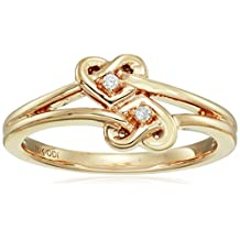 10k Yellow Gold Diamond Accent Double Heart Knot Ring, Size 7
