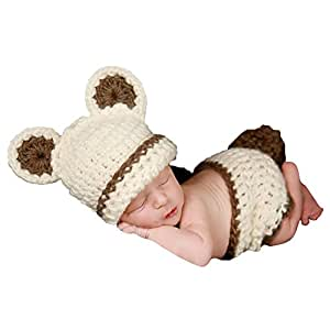 Jastore® Photography Prop Bear Costume Cute Crochet Knitted Baby Hat Diaper Knitted Outfit Animal Costumegirl Boy