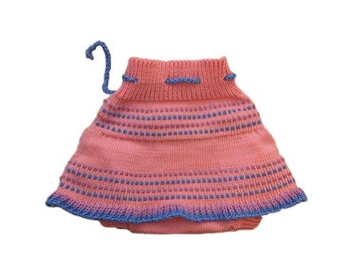 Merino wool baby-girl knit soaker diaper cover skirt (M, Pink)