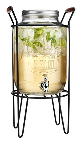 Cooling Station 2 Gallon Glass Beverage Dispenser with Screw Lid Spigot in Metal Caddy with Handle.