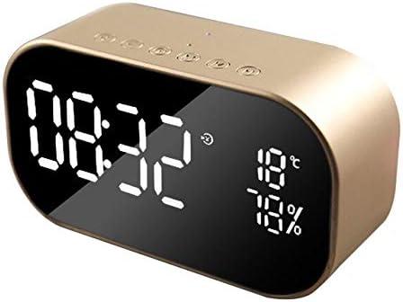 XXYYKK Reloj Despertador Digital Reloj Despertador Led Radio FM Altavoz Inalámbrico Bluetooth Soporte Aux TF Oficina Dormitorio Hogar Posponer Tiempo De Visualización Dorado Champagne