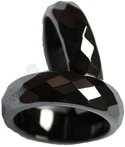 2pcs Natural Black Faceted Hematite Stone Finger Band Rings Gift Box Size 5-13