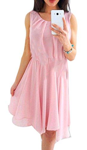 Beach Tunic Cromoncent Swing Sleeveless Chiffon Pink Dress Casual Boho Women's qXX7ag