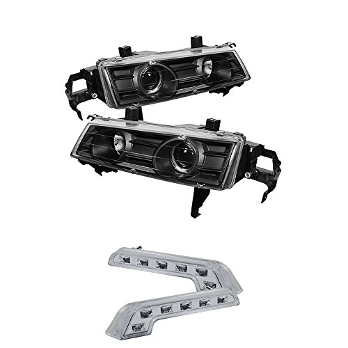 Prelude Projector Led (Honda Prelude Projector Headlights LED Halo Black Housing With Clear Lens)