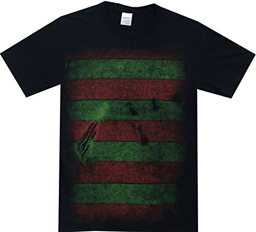 A Nightmare on Elm Street Freddy Kreuger Costume Reversible Mask Adult T-Shirt (Large, Black) ()